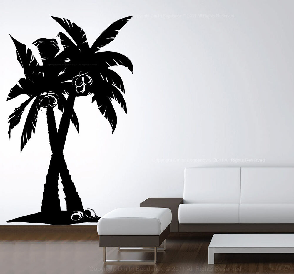 Large Vinyl Wall Art Decal Coconut Palm Tree Forest