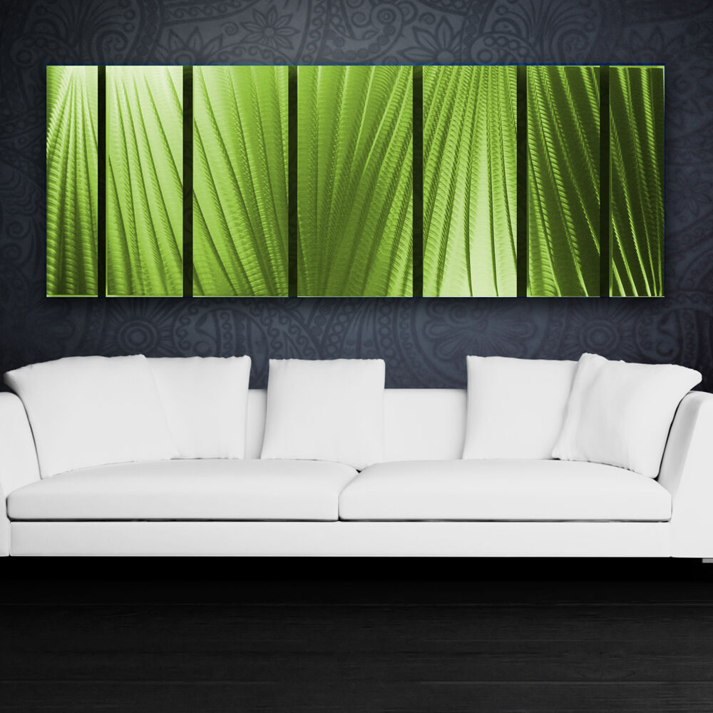 Modern abstract metal wall art green painting sculpture for Modern home accents accessories