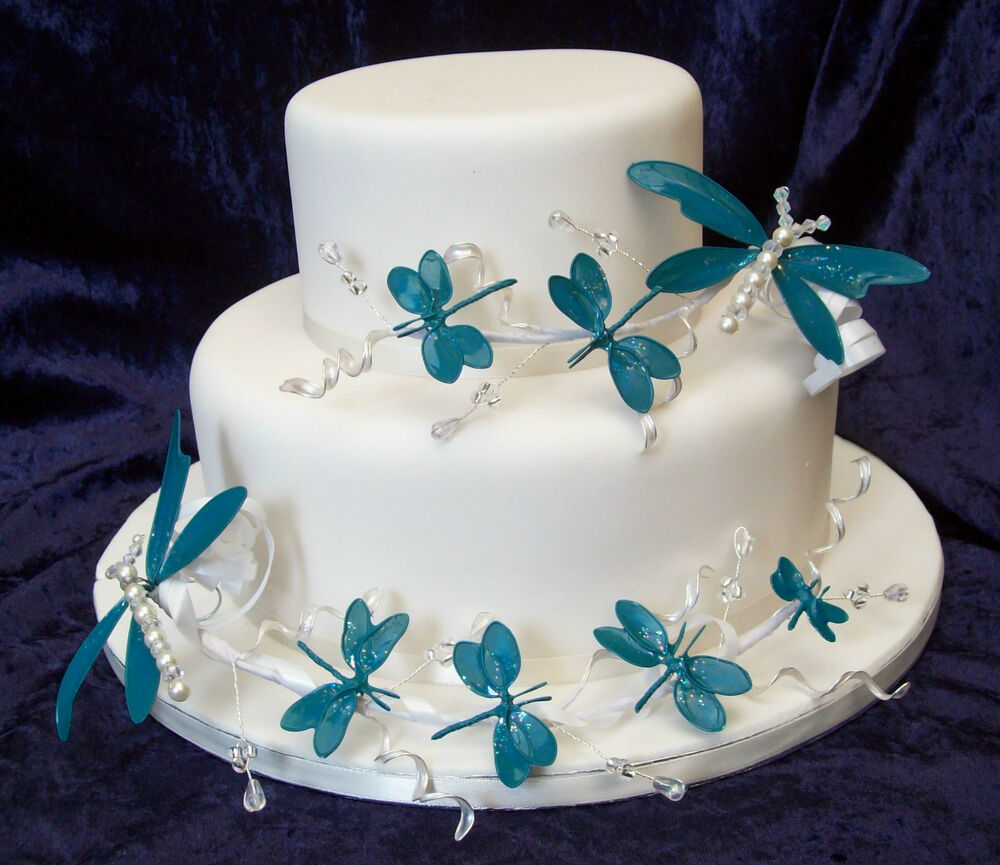 Wedding/Celebration dragonfly cake toppers- set of 2 Blue