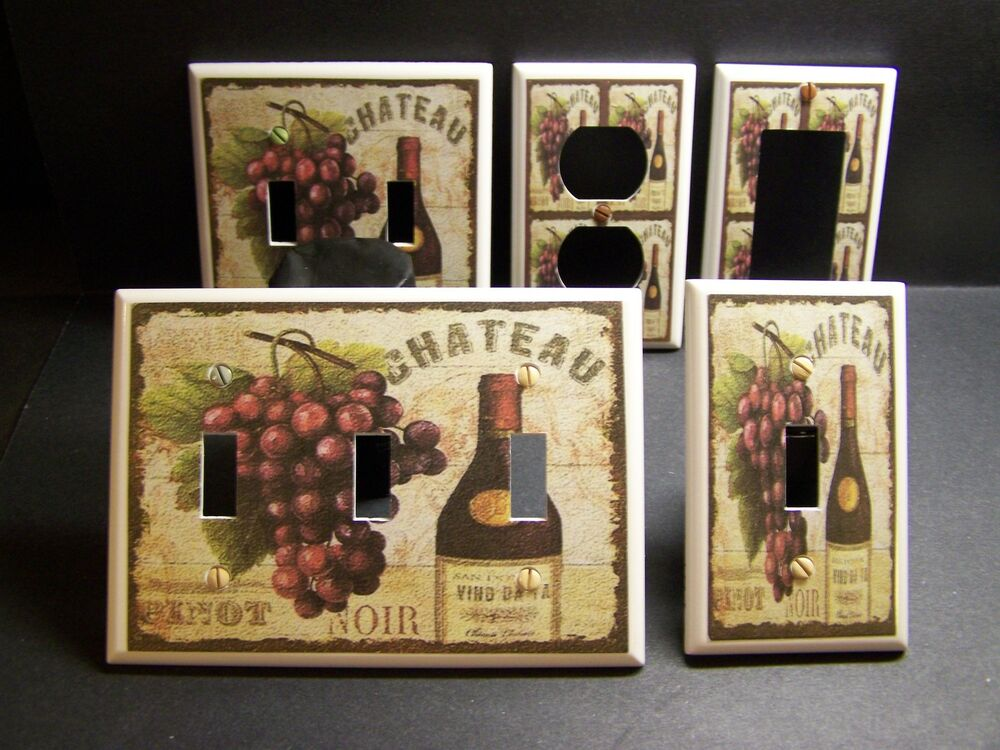 tuscan wine grapes kitchen decor light switch or outlet. Black Bedroom Furniture Sets. Home Design Ideas