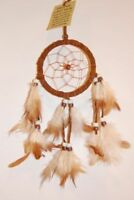 HANDMADE NATIVE DREAMCATCHER IN DARK CHOCOLATE BROWN SUEDE LEATHER / dcle09dbr