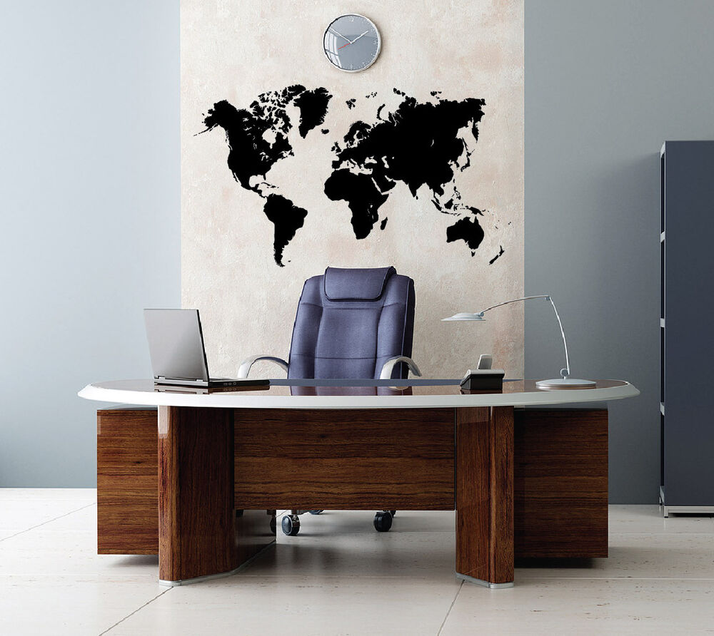 vinyl wall decal global world atlas map easy to apply removable sticker 1601 ebay. Black Bedroom Furniture Sets. Home Design Ideas