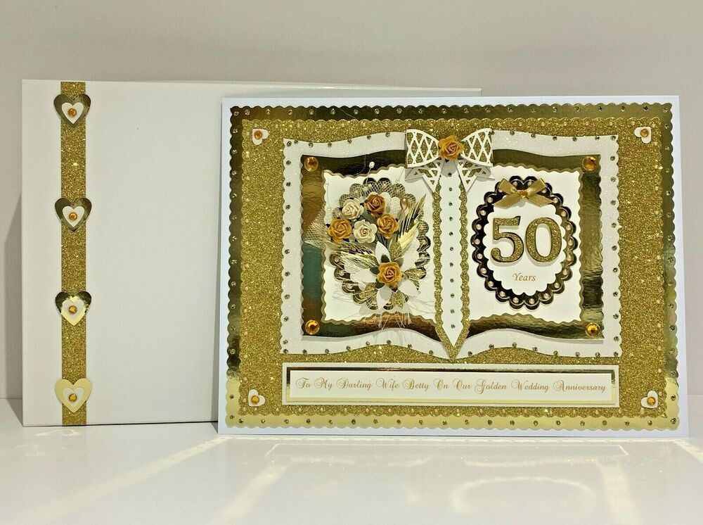 50th Wedding Anniversary Gift Ideas For Wife: 50th Golden Wedding Anniversary Card + Box Wife/Husband