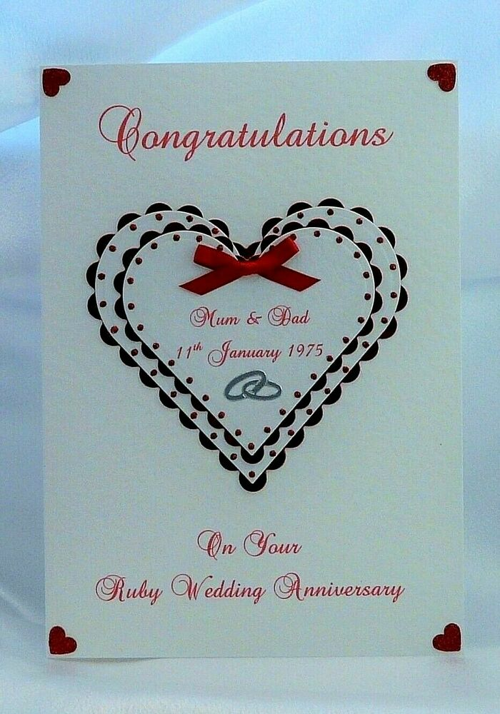 Wedding Anniversary Gift For Friends: Ruby 40th Wedding Anniversary Card Wife/Husband/Friends