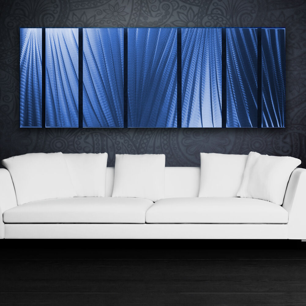 Large Metal Wall Art Panels Modern Abstract Blue Painting