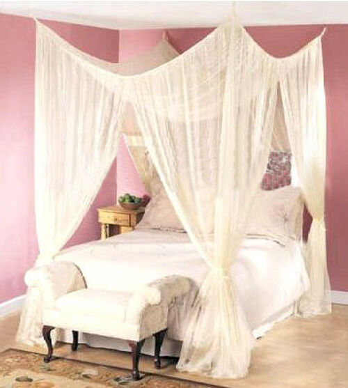 4 post bed canopy dreamma four corner mosquito bug net for Bed with mosquito net decoration