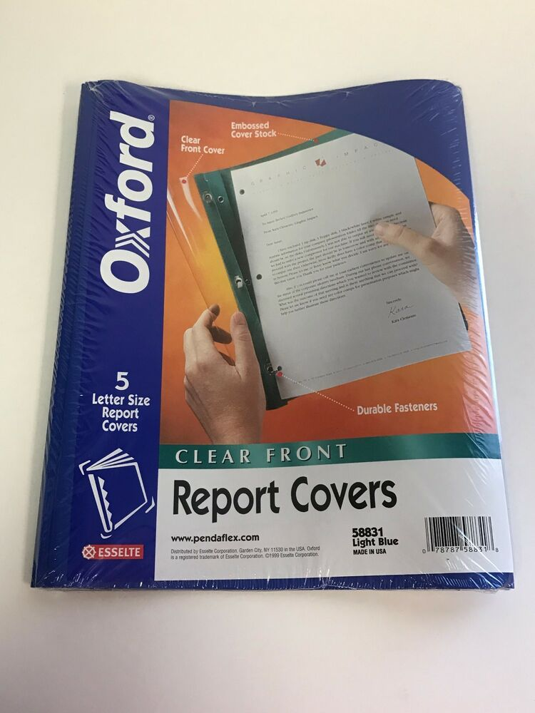 oxford 58831 blue letter size report covers clear front pack of