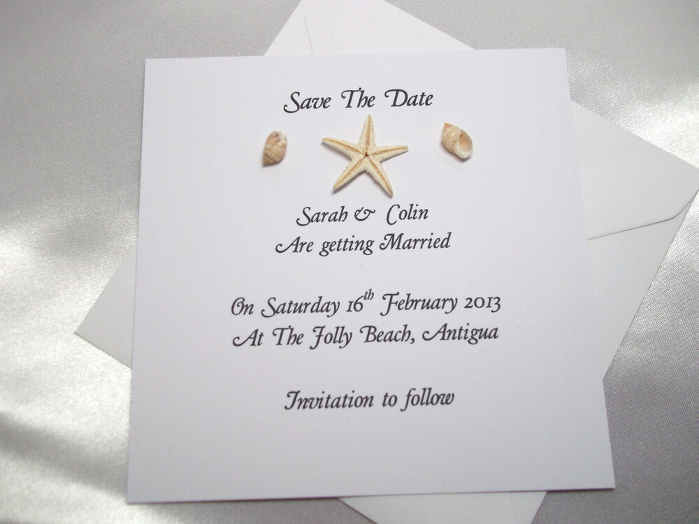 Wedding Invitation Save The Date: Personalised Save The Date Cards/Wedding Invitations Beach