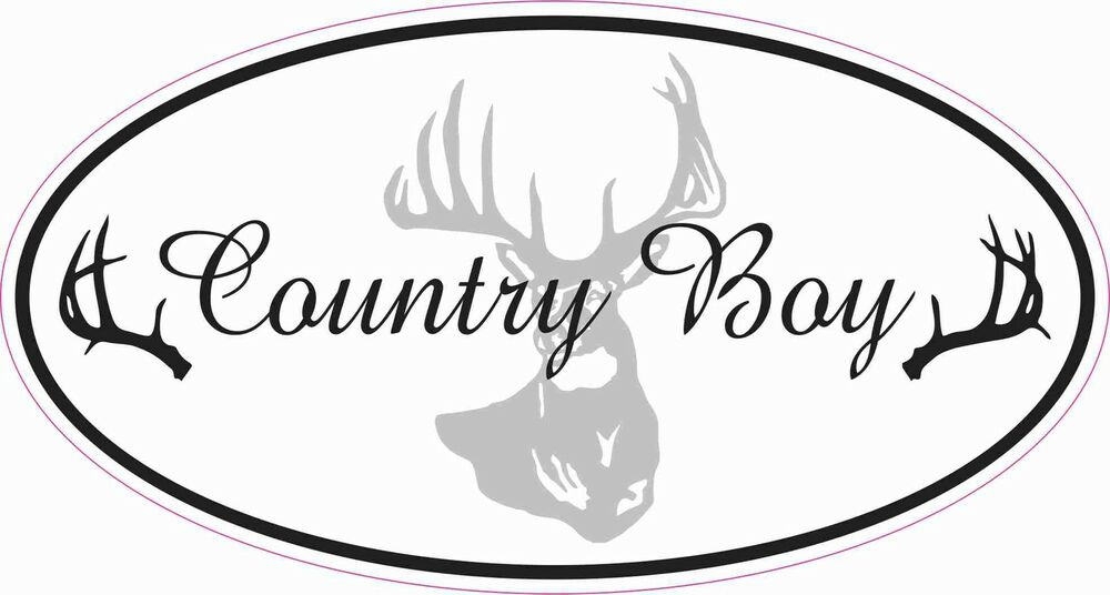 Country Boy Deer In Black Decal Sticker Atv Funny Toolbox Car
