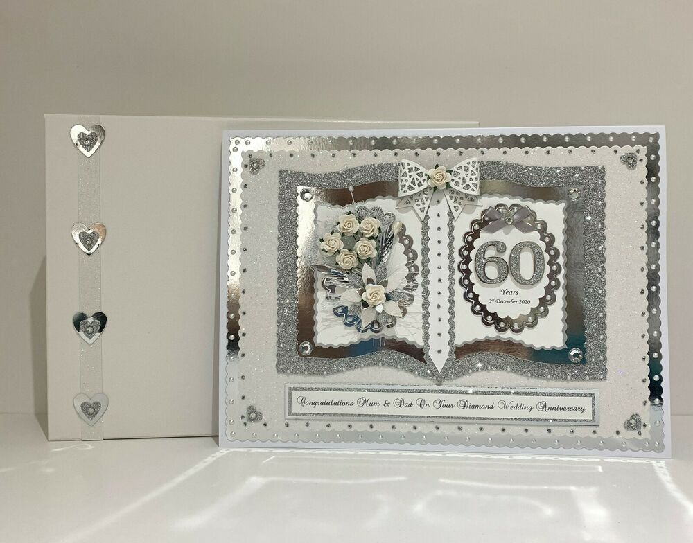 60th Wedding Anniversary Gifts For Friends: Diamond/Platinum 60th/70th Wedding Anniversary Card Wife