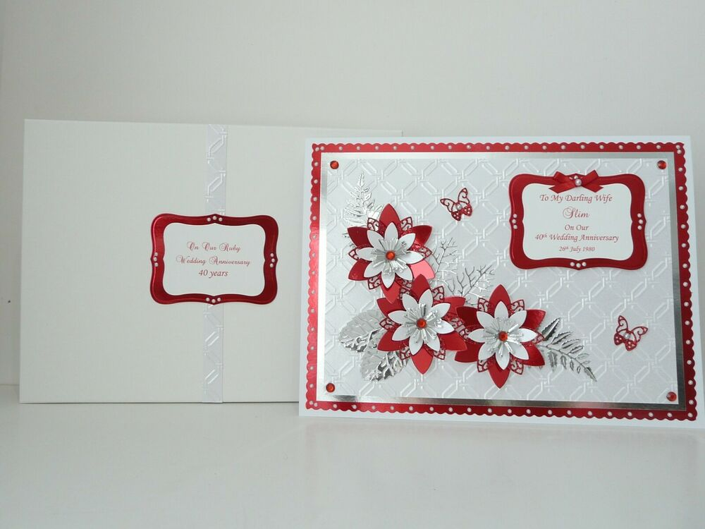 40th Wedding Anniversary Gifts For Friends: Ruby 40th Wedding Anniversary Card + Box Wife/husband/Mum