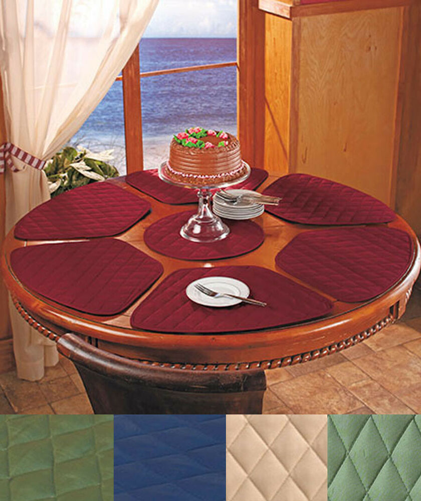 Superieur 7 Pc Round Table Wedge Shaped Placemat Set IN STOCK 6 Quilted Ctr Trivet  Kitchen | EBay