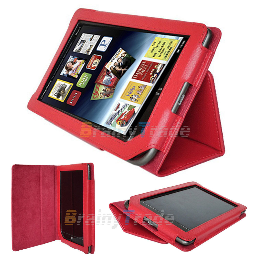 Red Pu Leather Cover Case Folio Stand For Barnes Amp Noble