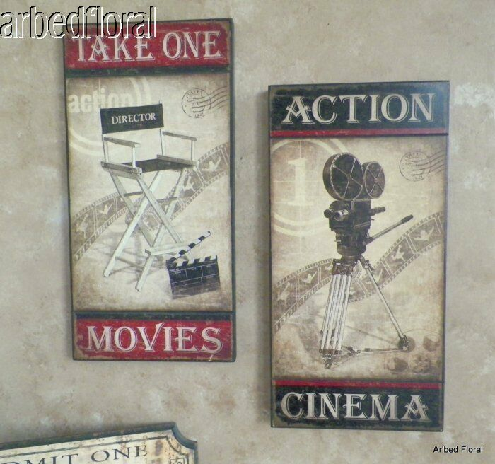 set 2 cinema movie themed wooden picture plaque wall art home theater themed ebay. Black Bedroom Furniture Sets. Home Design Ideas