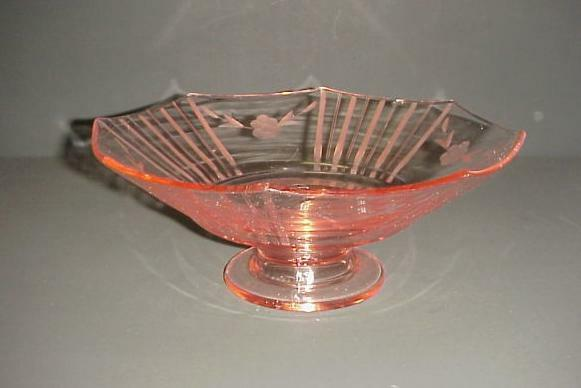 Pink depression glass footed fruit centerpiece bowl ebay