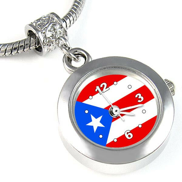 Charm Bracelet Watches: Puerto Rico Flag Silver European Spacer Charm Bead Watch