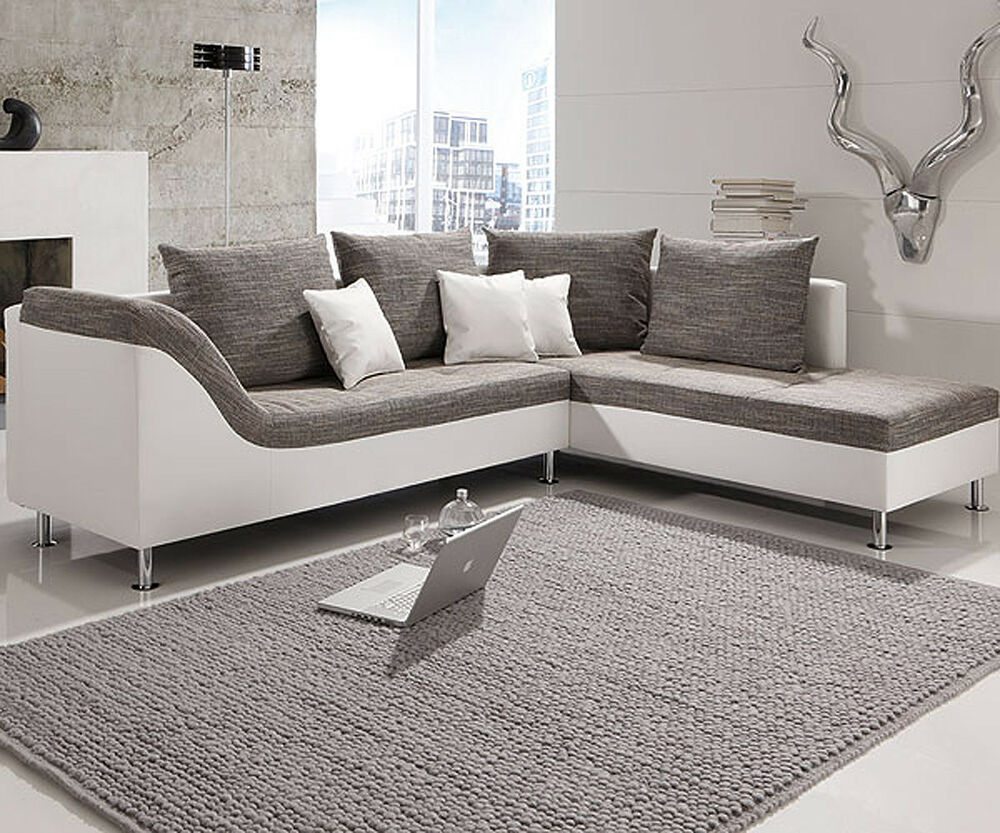 ecksofa philip wohnlandschaft couch sofa mit ottomane rechts wei stoff grau ebay. Black Bedroom Furniture Sets. Home Design Ideas