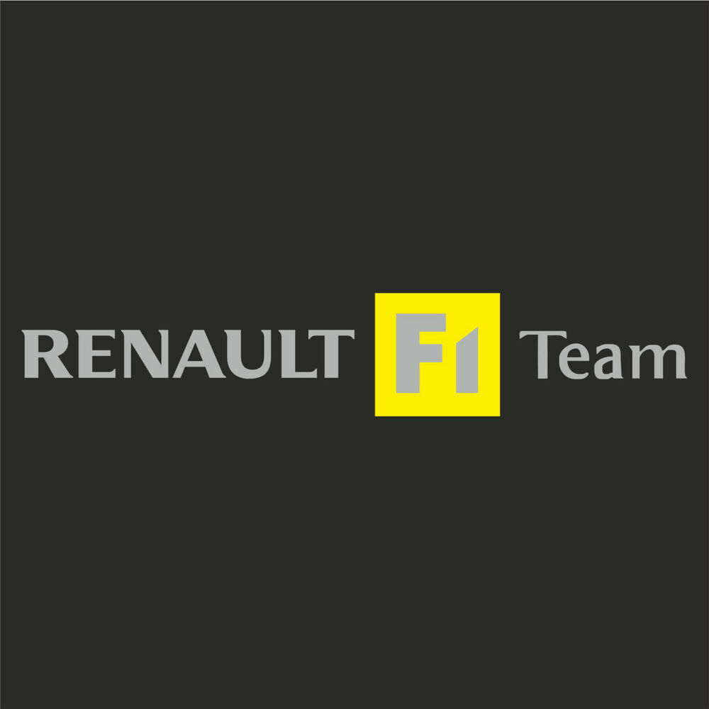 1 x renault f1 team sticker decal new style silver text clio megane sport ebay. Black Bedroom Furniture Sets. Home Design Ideas