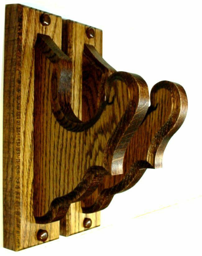 Oak Wooden Gun Rack Hangers Rifle Shotgun Classical Wall
