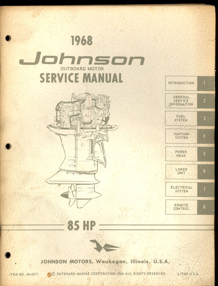 1968 johnson outboard motor 85hp service manual jm 6811. Black Bedroom Furniture Sets. Home Design Ideas