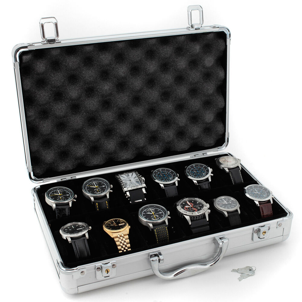 tech swiss tsboxal12 watch storage aluminium case watch box ebay