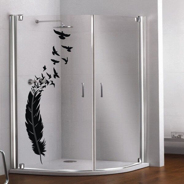 glas dekor aufkleber fenster dusche bad tattoo feder v gel vogel glasdekor 49 ebay. Black Bedroom Furniture Sets. Home Design Ideas