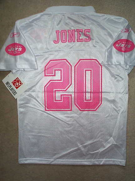 db74a4f39 ( 60) PINK New York Jets THOMAS JONES nfl THROWBACK Jersey YOUTH (GIRLS  xl-16)