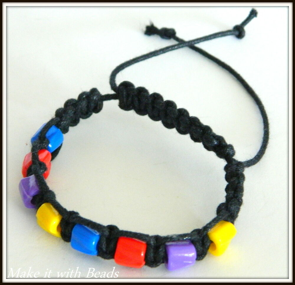 Mixed Beads Black Cord Braided Friendship Bracelet Making ...
