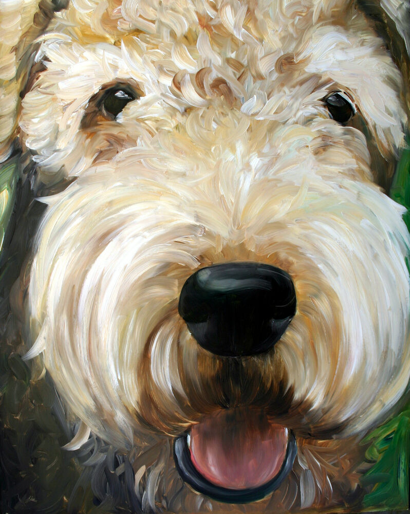 Mary sparrow airedale terrier dog art oil painting decor for Dog painting artist