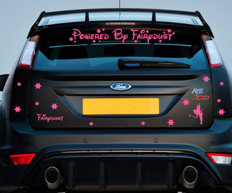 Powered by fairydust car sticker decal kit vinyl pink girls vehicle halfords c1 ebay