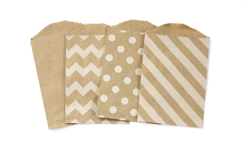 20 white on brown little paper food safe craft favor bags for Brown paper bag craft