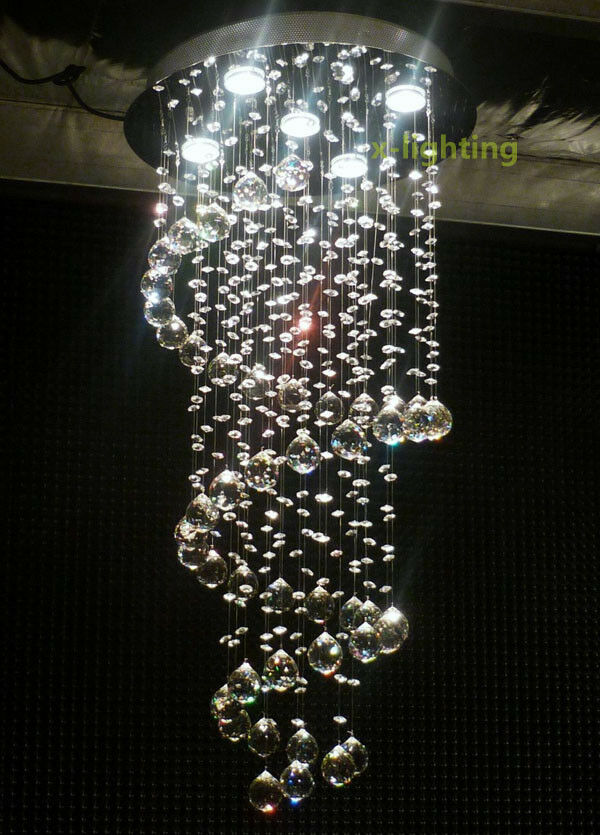 Modern Crystal Pendant Lamp Ceiling Light Spiral Lighting