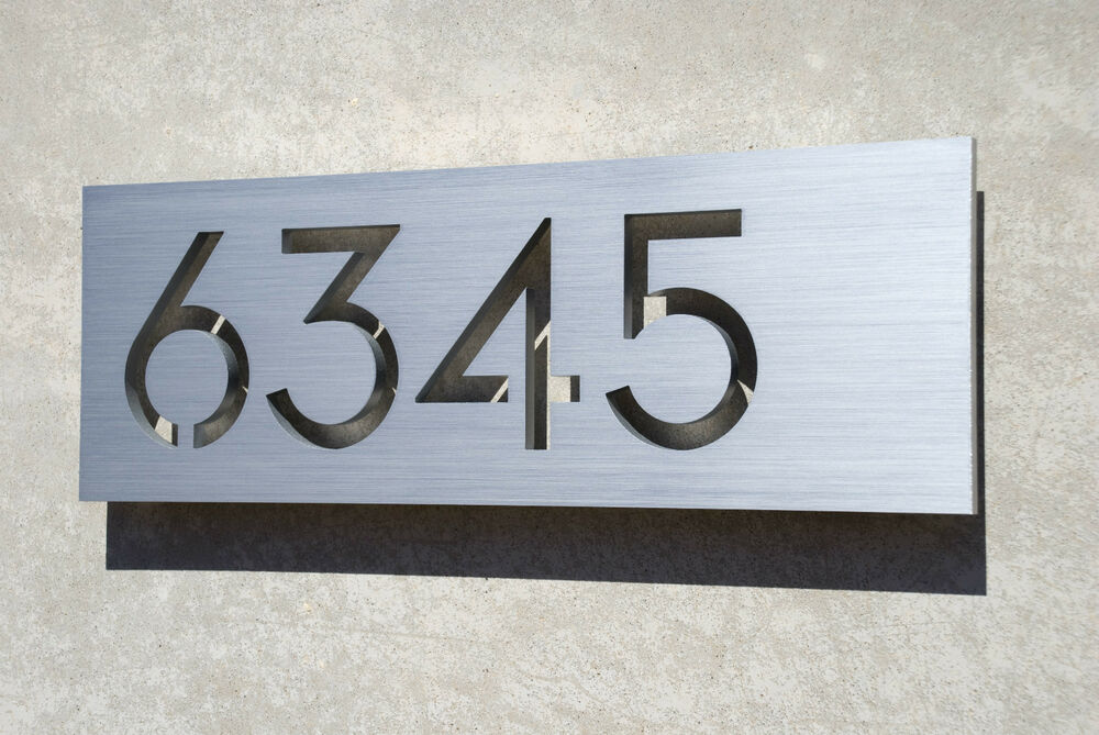 Modern house numbers aluminum plaque modern font ebay for Modern house number plaques