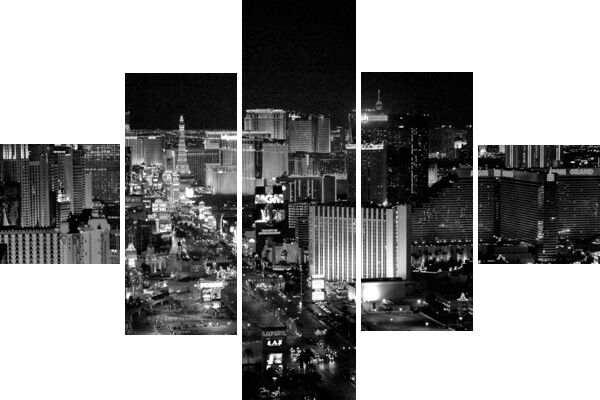 Large 5 Piece Cascading Las Vegas Black White Canvas