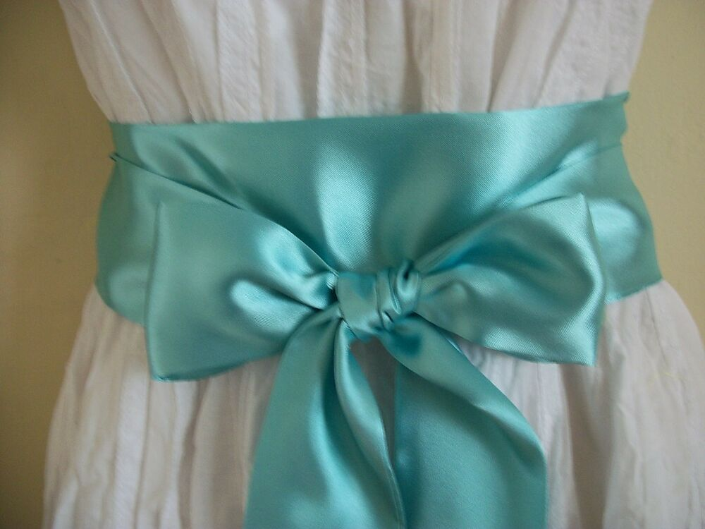 2 5 x100 mint green satin sash self tie bow belt for prom for Satin sash for wedding dress