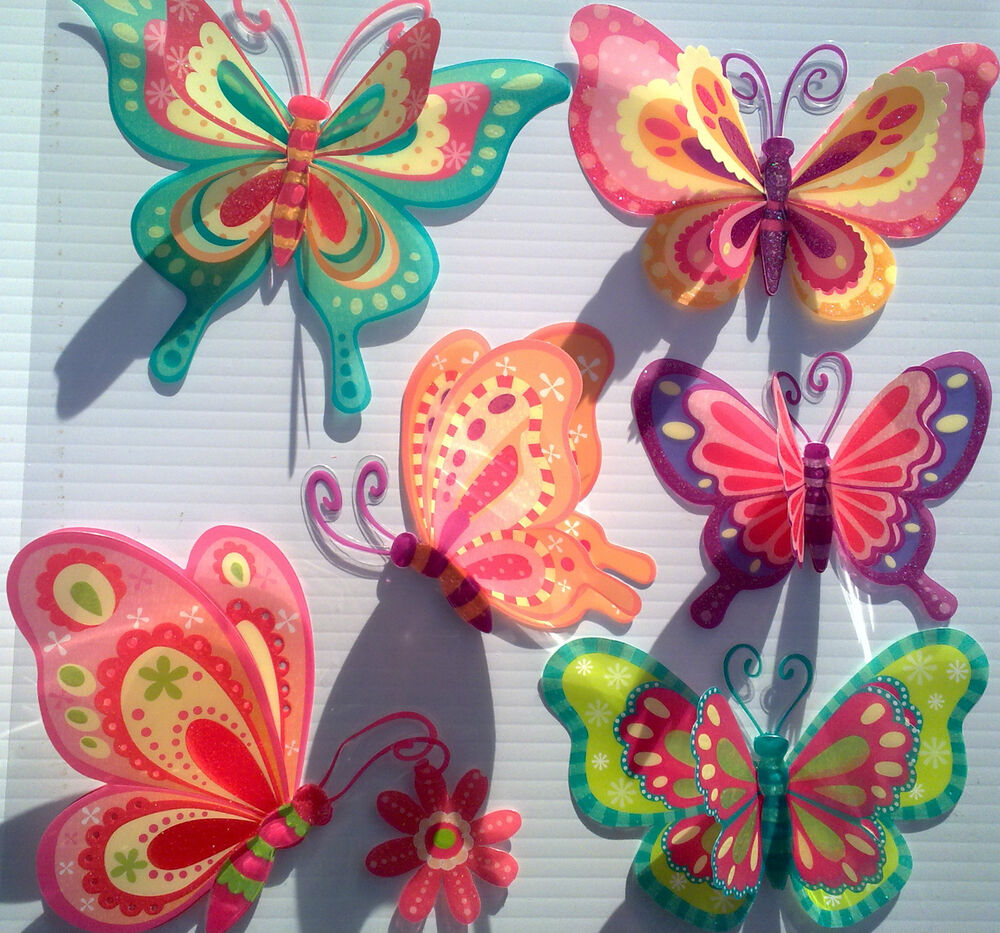 3d removable butterfly art decor wall stickers kids room decals for girl 786471167588 ebay. Black Bedroom Furniture Sets. Home Design Ideas