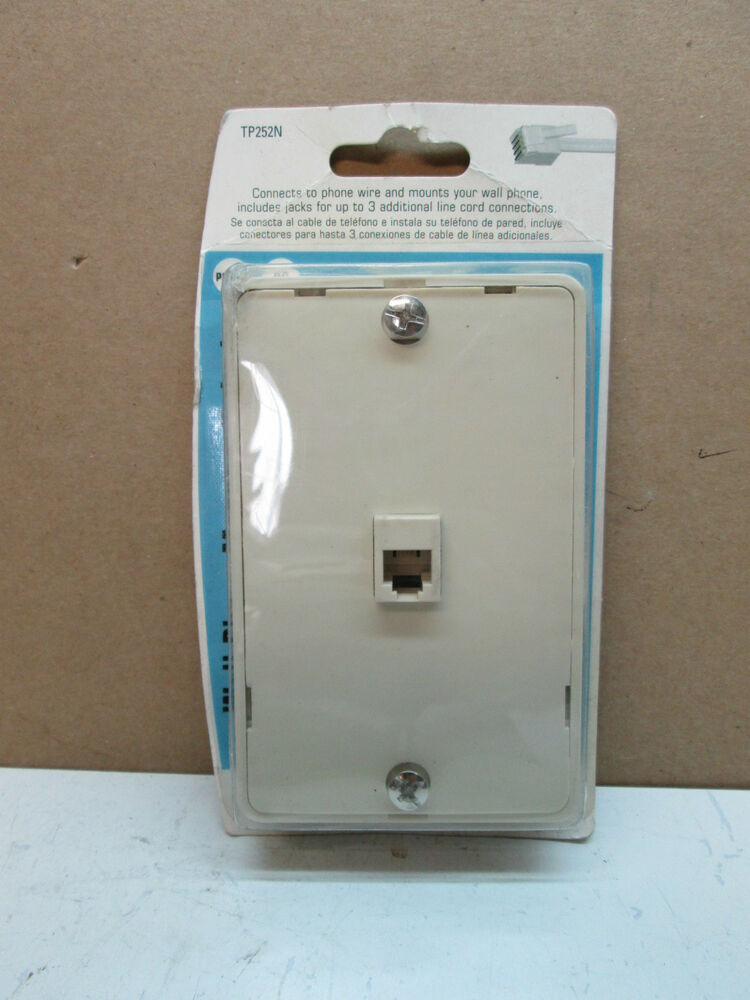 rca tp252n 3 way modular wall phone jack ivory phone wire. Black Bedroom Furniture Sets. Home Design Ideas