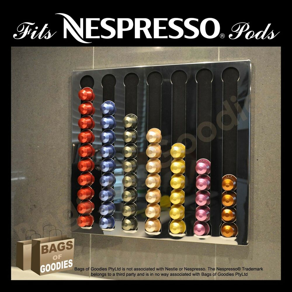 new nespresso coffee capsules pod wall holder dispenser stainless steel bnib ebay. Black Bedroom Furniture Sets. Home Design Ideas