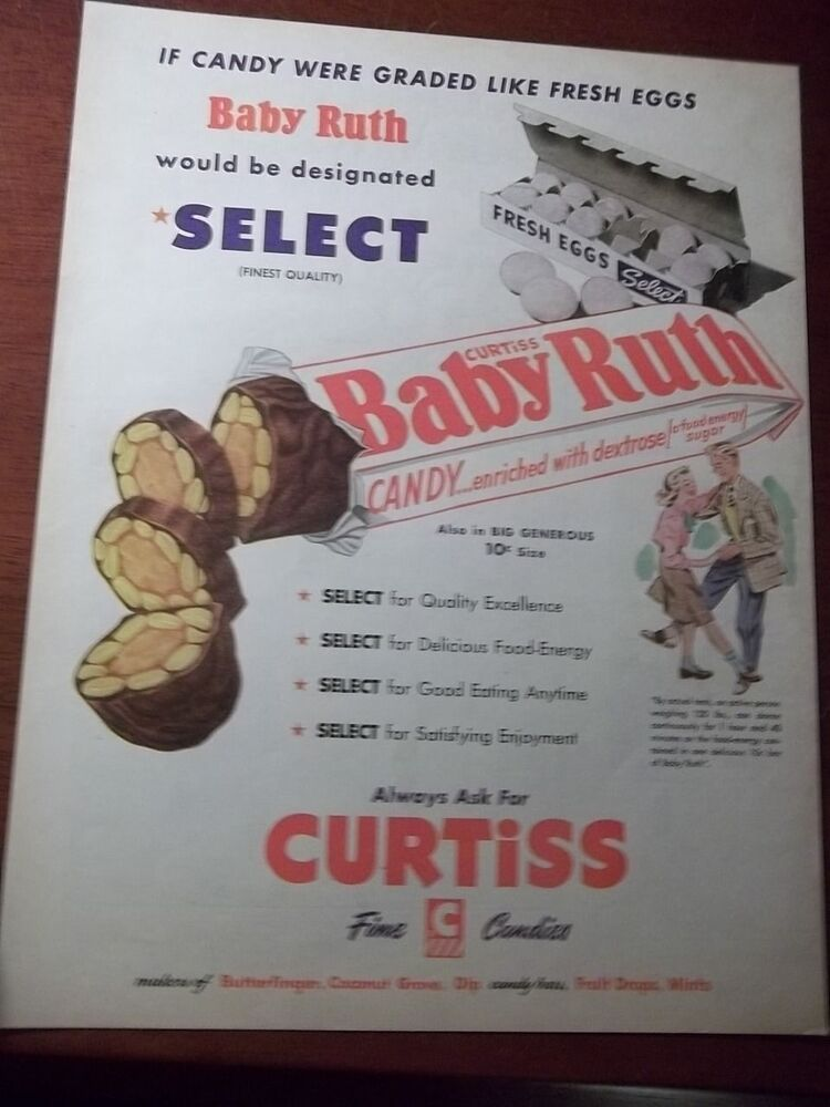 1951 VINTAGE AD CURTISS BABY RUTH CHOCOLATE CANDY BAR ...