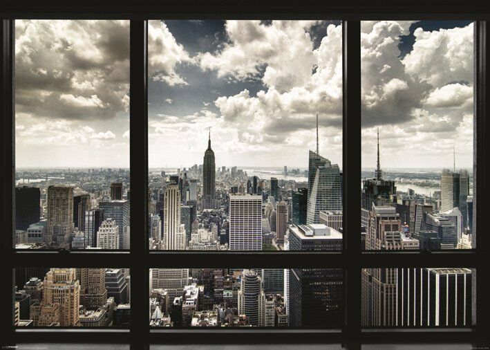 new york city window view giant wall poster 140cm x 100cm nyc manhattan ebay. Black Bedroom Furniture Sets. Home Design Ideas
