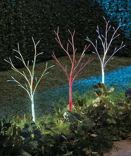 3 solar led tree stake outdoor color changing path light garden christmas decor ebay for Solar garden stakes color changing