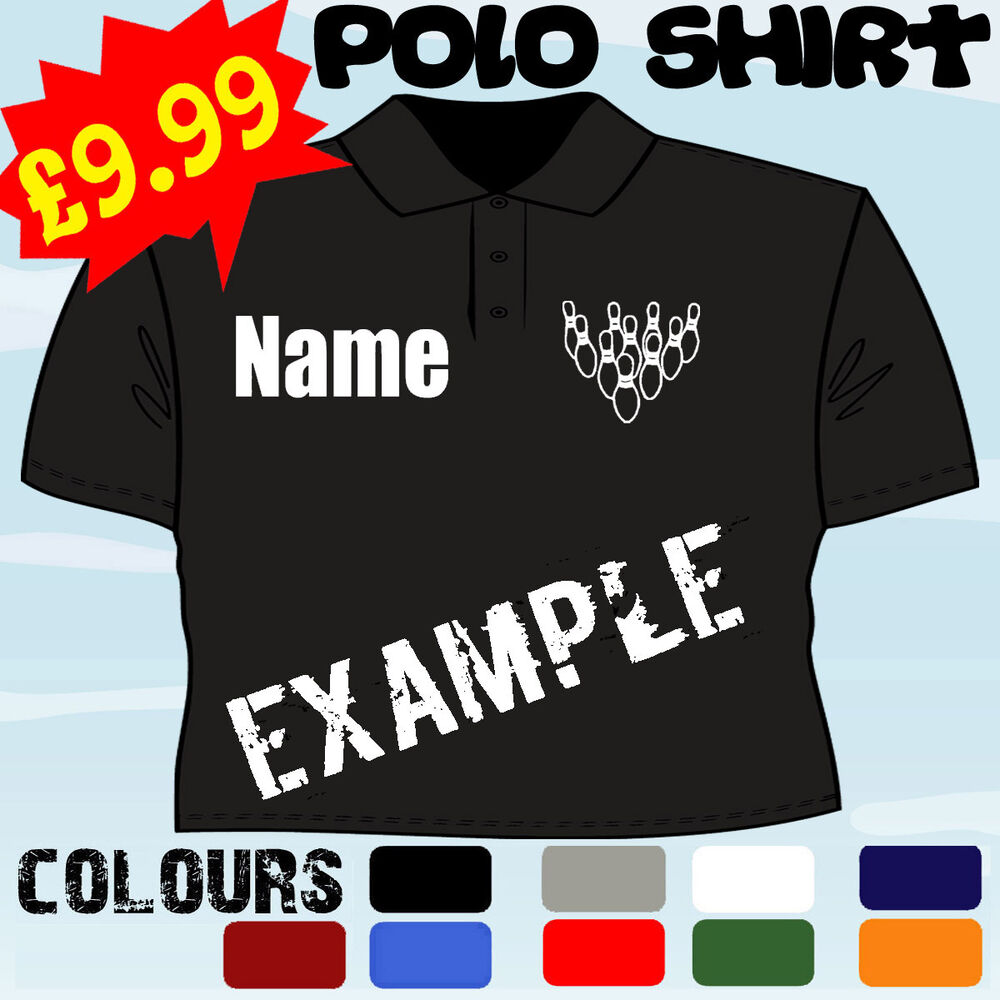 Ten pin 10 bowling player personalised t polo shirt ebay for Polo work shirts with company logo