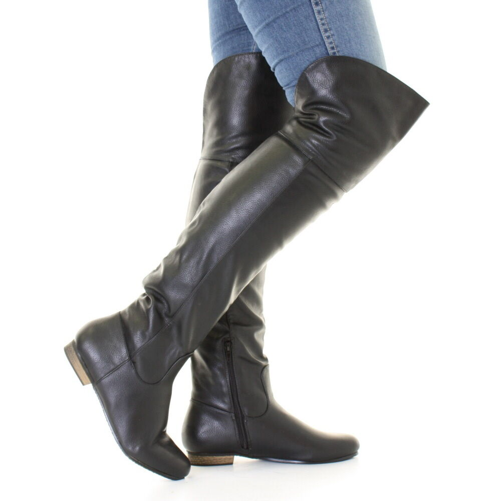 WOMENS BLACK LEATHER STYLE FLAT OVER KNEE THIGH HIGH ...