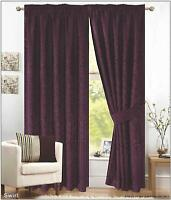 PAIR OF AUBERGINE PENCIL PLEAT - FULLY LINED JACQUARD SWIRL CURTAINS + TIE BACKS
