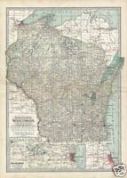 Rare Antique 1897 Century Atlas Map of WISCONSIN
