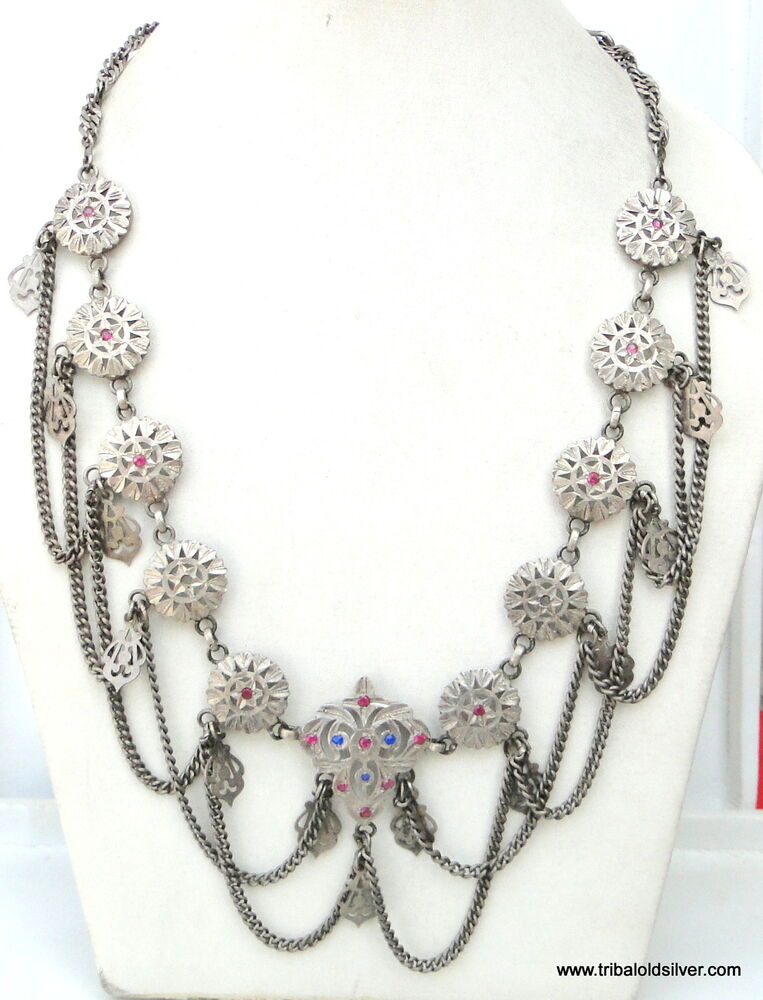 RARE ANTIQUE BELLY DANCE ETHNIC TRIBAL OLD SILVER JEWELRY ...