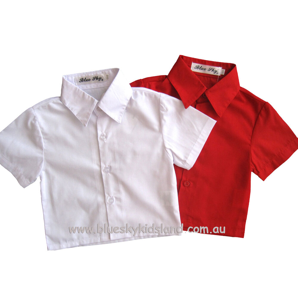 Nwt boys short sleeve shirt kids formal 100 cotton sz000 for Boys white formal shirt