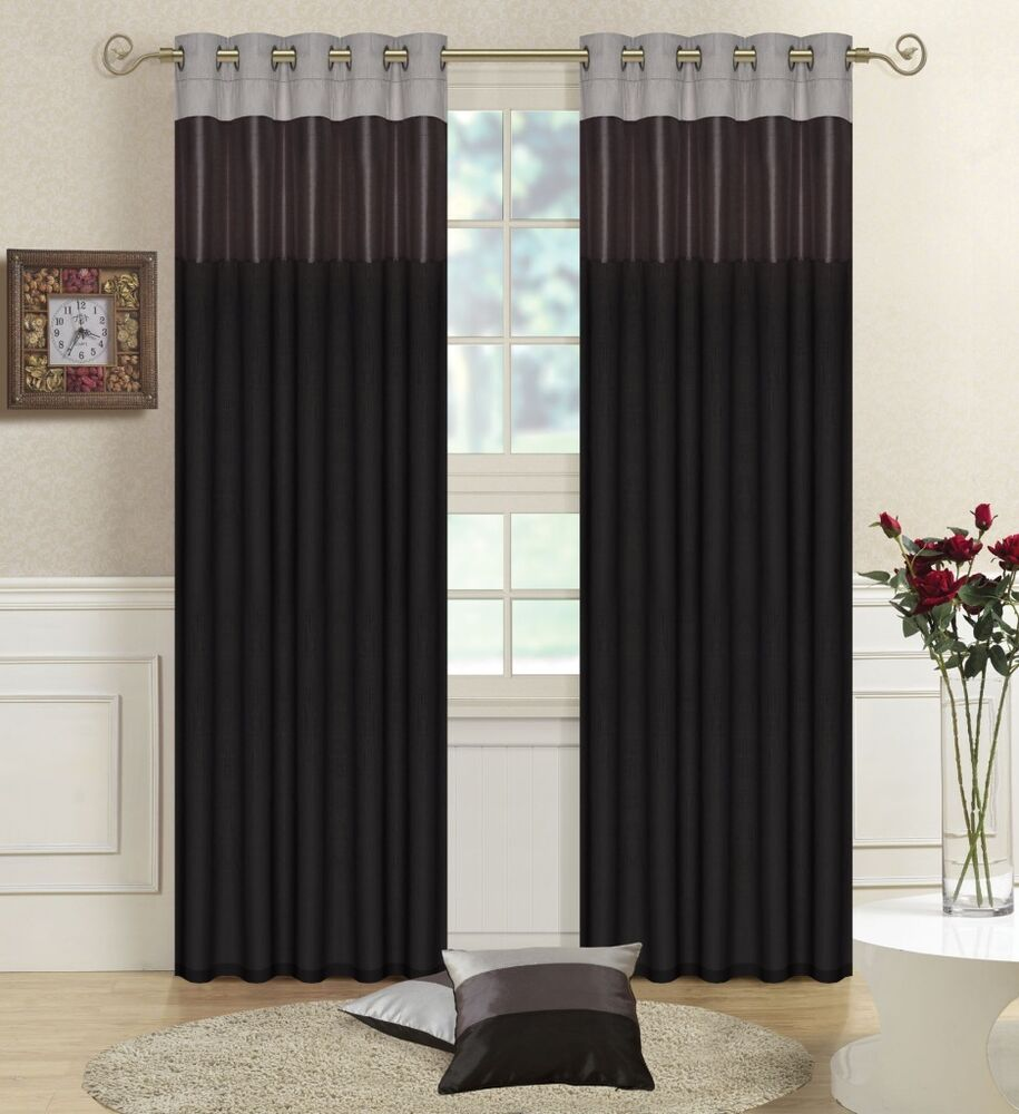 Black Grey Silver 66 X 90 Faux Silk Three Tone Eyelet Curtains Tiebacks Ebay