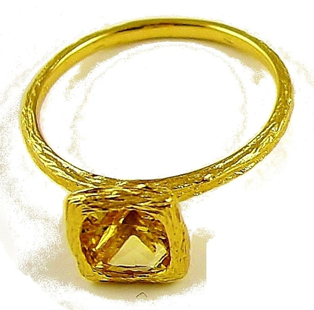 18k solid yellow gold and genuine citrine square solitaire stackable ring ebay. Black Bedroom Furniture Sets. Home Design Ideas