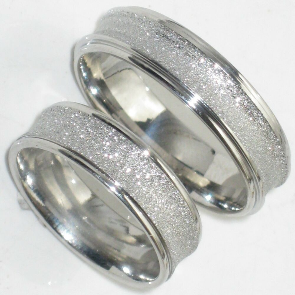 His hers 6mm sandblast wedding ring band str383w mens or for Men and women matching wedding rings